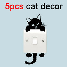 5PCS Removable Funny Black Cat Light Switch Wall Sticker Kids Room Gift Decal CN
