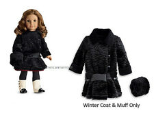 "American Girl REBECCA WINTER COAT for 18"" Dolls Historical Jacket Black NEW"