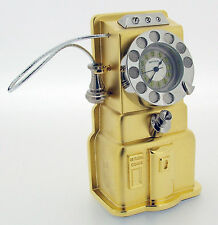 Novelty Miniature Payphone Style Clock in Gold Tone