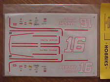NEW 1980 CHEVROLET CAPRICE RUSTY WALLACE #16 NORTON 1/24-1/25 WATER SLIDE DECAL