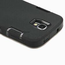 Black Hybrid Rugged Rubber Defender Case Cover for Samsung Galaxy S4 SIV i9500