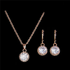 18k Gold Filled pretty cubic zirconia jewelry sets necklace/earrings