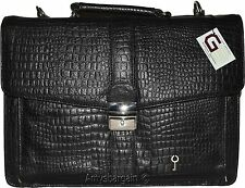 New Crocodile Skin Printed Leather Briefcase Black Business case Attaché sac bag