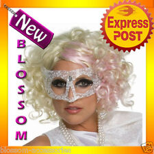 W65 Ladies Lady Gaga Curly Fancy Dress Party Costume Wig w/ Pink Highlight