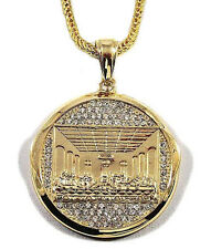 """ICED OUT GOLD LAST SUPPER JESUS PIECE HIP HOP PENDANT W/36"""" FRANCO CHAIN"""