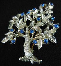 Vintage Dodds Tree Brooch Pin Silver Tone Metal Blue Rhinestones