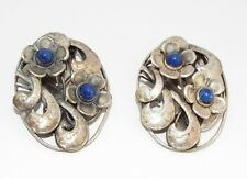 Vintage CZECH blue glass flower DRESS CLIPS brooch TCHECO SLOVAQUIE Hand WROUGHT