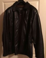 Oakwood Classic Men's Black Leather Jacket Coat Size Large Full-Zip Thinsulate