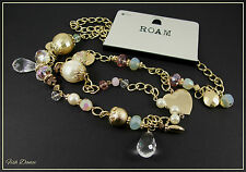 ROAM BY NEW LOOK. LOVELY LONG GOLD HEART CHARM & CRYSTAL EFFECT NECKLACE (12)