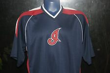 Men MLB Cleveland Indians Majestic Baseball Jersey Blue Sz Large