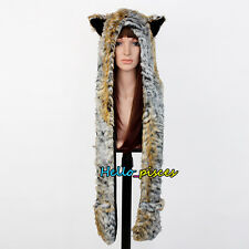Unisex Faux Fur Animal Women Men Hat with Long Scarf Mittens Paws Tiger Winter