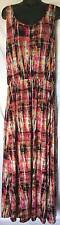 Fever Womens Dress Size Large Pink Beige Black Multi Maxi 3675