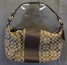 Coach Soho Mini Signature Top Handle Pouch Purse Baguette Brown Khaki Leather