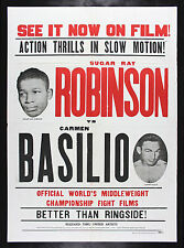 SUGAR RAY ROBINSON * CARMEN BASILIO * CineMasterpieces MOVIE POSTER BOXING 1958