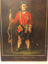 QUADRO PANNELLO epoca in legno anni 60 The Scottish Highlander 1742