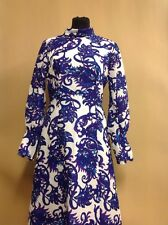 A Vintage 1970s Maxi Dress Purple & White VGC UK Size 12 Groovy Carnaby Street