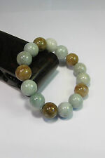 Natural Grade A light yellow/white  jade 10 mm beaded stretchy bracele(15 beads)