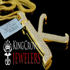 Real 14k Yellow Gold On Silver Micro Pave Simu Diamond Initials Letter K Pendant