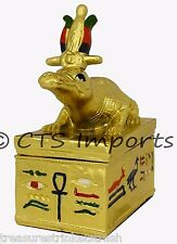 Gold Plated Sobek Collectible Trinket Jewelry Box EGYPTIAN TREASURES FREE S&H