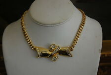 VINTAGE GOLD TONED METAL CHAIN NECKLACE WITH GOLD TONED METAL BOW & RHINESTONES