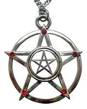 Gothic Double Pentacle Silver Medieval Renaissance Pendant Necklace NK-349