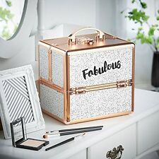 Aluminum Makeup Storage Box Spotted 'Fabulous' Beauty Train Case with Lock