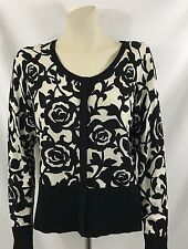 White House Black Market Cardigan Black/White Printed Large