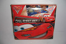 DISNEY CARS 2 GRAND PRIX COTTON RICH FULL BED BEDDING SHEET SET NEW!