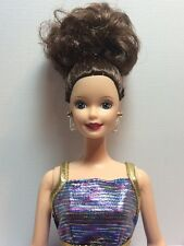 OOAK Restyled Mattel Blue Ball Gown Brunette Updo Barbie With Blue Eyes