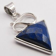 925 Solid Sterling Silver Lapis Lazuli Genuine Gemstone Triangle Shape Pendant