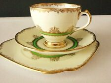 Roslyn  English China Vintage Tea cup Saucer Tea plate Art Deco Green Gold
