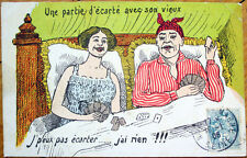 1906 Playing Card Postcard: French Couple Playing Cards in Bed