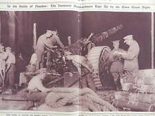 1917 BRITISH HEAVY GUN TEAM AT NIGHT WESTERN FRONT WWI WW1 DOUBLE PAGE