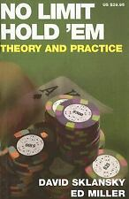 NEW No Limit Hold 'em: Theory and Practice by David Sklansky Paperback Book (Eng