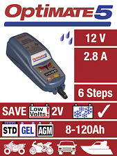 OPTIMATE 5 12V 2.8A Cargador de ahorro de batería de la motocicleta y mantenedor (nuevo)