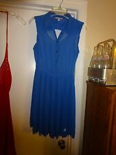 American Eagle Outfitters Blue Size Medium Sleeveless Dress Button Front Poly