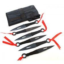 Throwing Knife Set 6 Knives & Case Black Loop Handle Black Stainless Steel 5237