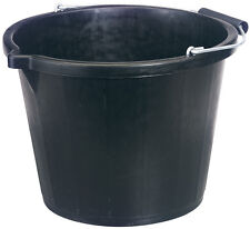 Black Builders Bucket Plastic 3 Gallon 14 Litre 14L Strong Water Mixing Trendy