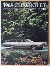 CHEVROLET 1968 grande voiture gamme ORIG USA MKT brochure de prestige-Impala SS Biscayne