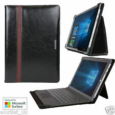 Maroo Leather Folio Case Cover Stand Microsoft Surface Pro 3 4 - Obsidian Black
