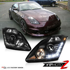 For 2003-2005 350Z VQ35 FACTORY D2R HID Black Projector Headlight LED DRL L+R
