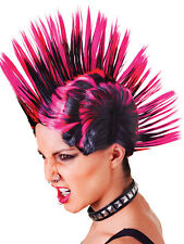 Punk Rock Moicanos Peluca Mujer Rosa Negro Fancy Dress Accesorio Ochenta 80, Adulto