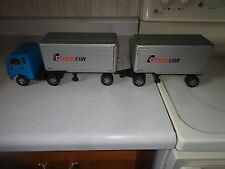 Tin friction drive,semi truck,with trailer and pup,Transcon truck lines ,vintage