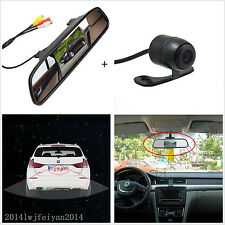 Car Rearview Mirror LCD Display Monitor + Backup Reverse 170° Wide Angle Camera