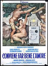 CINEMA-manifesto CONVIENE FAR BENE L'AMORE proietti,belli,de sica, F. CAMPANILE