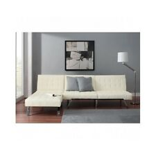 Queen Sofa Bed Sleeper Futon Chaise Lounge White Faux Leather Lounger Furniture