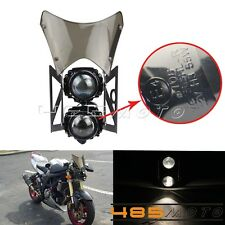 E-marked & DOT Streetfighter Headlight, projector headlight W/ Windscreen Black