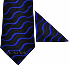 New Polyester Woven Men's Neck Tie set black blue Necktie wedding prom