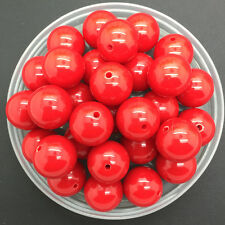 NEW 8mm 50Pcs DIY Acrylic Round Pearl Spacer Loose Beads Jewelry Making Red