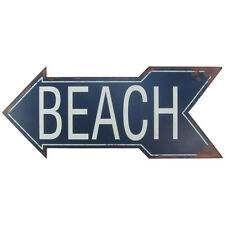 Large Metal To BEACH Arrow Tin Sign Nautical Seaside House FL Coastal Home Decor